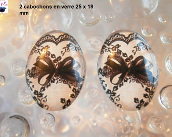 2 cabochons glass 25mm x 18mm theme lace