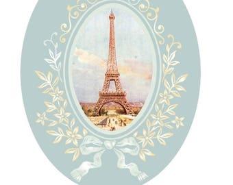 1 cabochon glass 25mm x 18mm eiffel tower theme