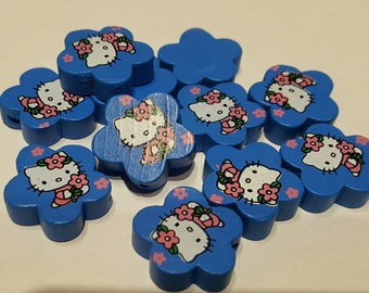 Wood flower Hello Kitty (blue) beads
