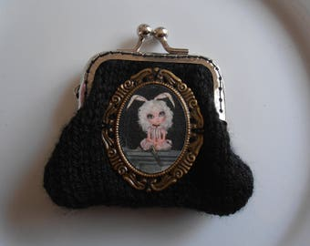 Black purse with Medallion Bunny girl