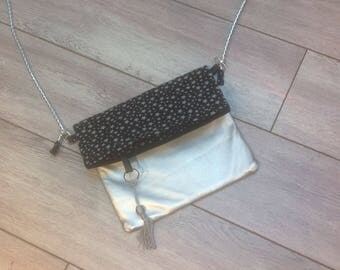 PROMO. SHOULDER bag faux leather silver and stars