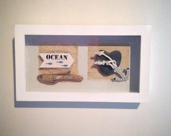 """Design frame white wood """"pebble & Driftwood"""" n ° 2"""