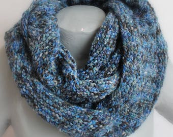 double cowl gradient round blue and gray