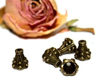 Beaded bells caps X 5 color bronze 10 X 9 mm