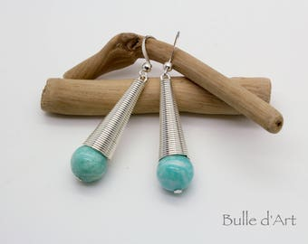 Amazonite stones cone earrings