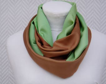 """Scarf tube, Snood, green and Brown """"Pistachio and chestnut"""" with hand painted silk pongee. Creation: unique"""