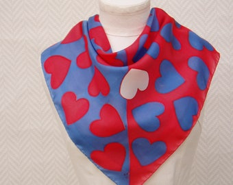 """Scarf, NewsBoy, red blue scarf """"hearts"""" in hand painted silk pongee"""