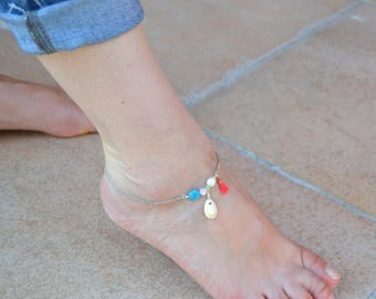 Silver thin Anklet shell