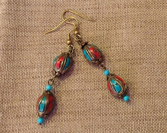 Ethnic earrings with Tibetan beads.