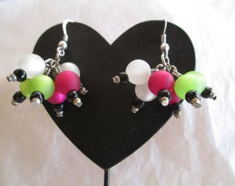 Tricolor with polaris beads cluster earrings