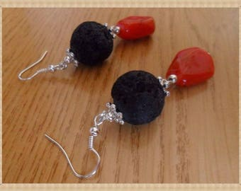 Earrings made of volcanic lava, red stone