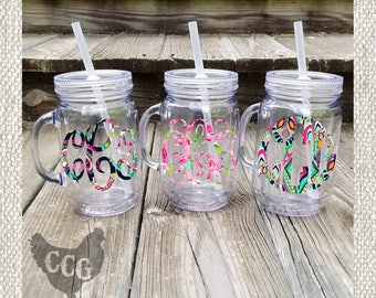 Monogram Mason Jar Tumbler -  Lilly Monogram Mason Jar