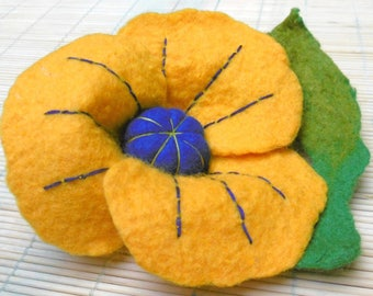 Large yellow felted wool with gold - unique flower brooch