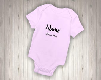 Personalised  Baby Bodysuit Name & Date of Birth