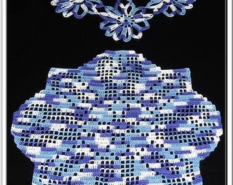 SET OF TWO PLACEMATS COLOR POVERTY BLUE AND WHITE - NEW - HANDMADE