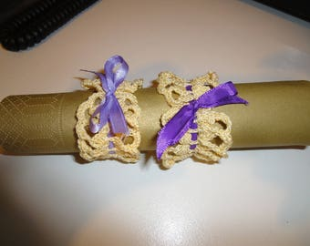 Napkin rings yellow color with purple new Ribbon
