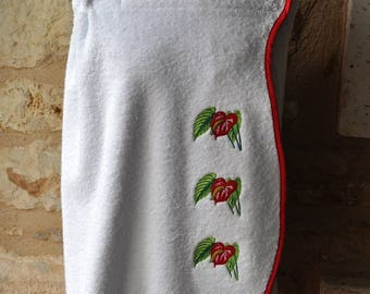 PAREO WOMAN EMBROIDERY FLOWER PATTERN TERRY CLOTH