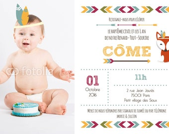 "Share birthday or christening ""Come"" Indian theme for boy"