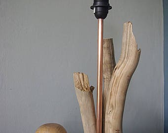 Copper and driftwood, turned wooden lamp