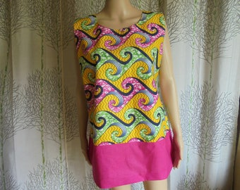 WAX blouse sizes African style 36/38/40/42/44/46/48: green, Fuchsia, yellow, black and white cotton for women.