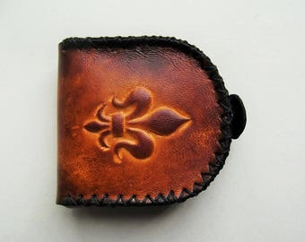 wallet leather tooled, handcrafted, fleur de lis