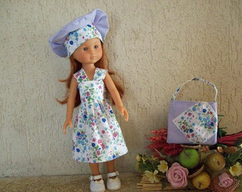 clothes for dolls 32/33 cm (dress, beret, bag) printed with blue flowers