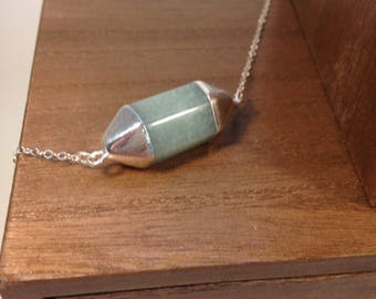 Necklace 925 sterling silver and aventurine
