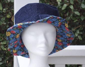 chapeau de soleil femme d'été en jeans et coton fleurs créateur lin'eva