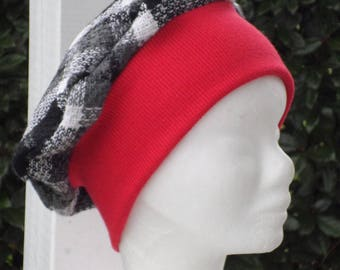 Beanie Hat beret red and black white cotton jersey emme and unique winter cozy wool