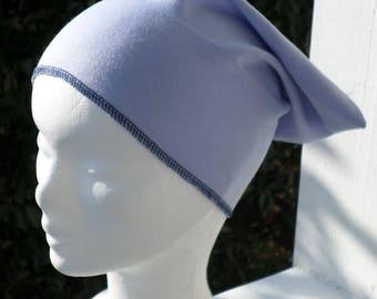 Turban bonnet béret chapeau chimio enfant bleu parme et bleu marine