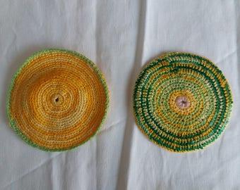 Handmade crochet pot holders pair yellow and green