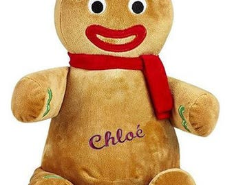 Embroidered plush gingerbread 30 cm with name