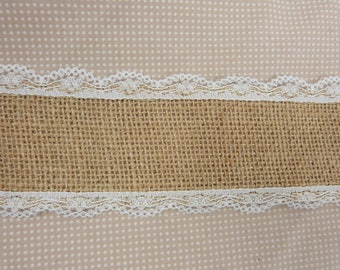 Wide ribbon, Burlap, edged with lace