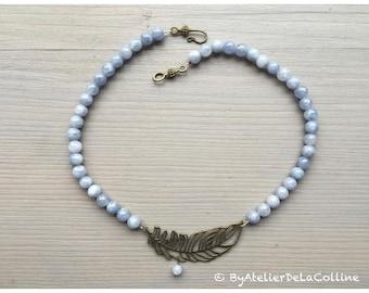 Aquamarine art deco necklace