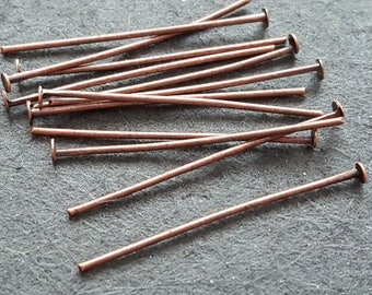 100 studs / posts head flat iron 30mm alloy copper