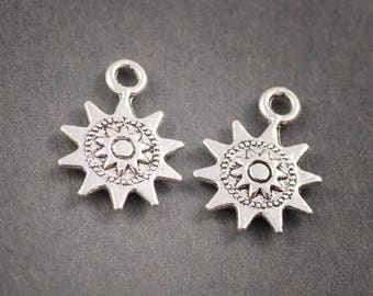 2 pcs - silver metal charms • Sun, star patterns embossed 17mm x 13mm • •