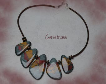 Tri color polymer clay necklace.