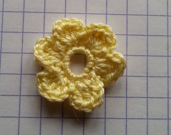 Crochet applique little yellow flower for sale individually