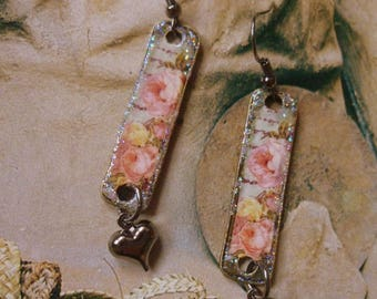 Old pink - romantic and elegant earrings