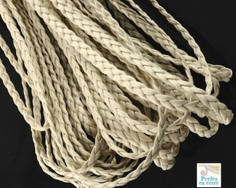 2 m flat plaited cord white ivory bracelet faux leather width 5mm (fil103)