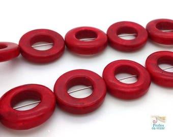 Dark 6 loop red howlite beads, 20 mm (ph155)