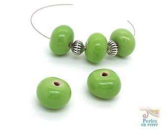 5 Apple green glazed ceramic beads 10x14mm (pc230)