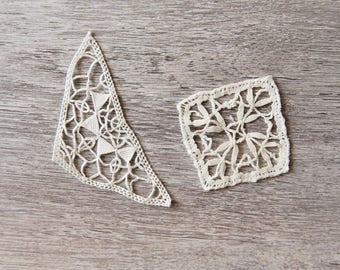 Hand made bobbin lace set of 2 vintage applications