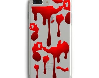 Blood iPhone case, Halloween phone case, Bloody halloween iPhone 6s case, iPhone 6 + case, iPhone 7 case, iPhone 7 + case, Clear case iPhone