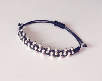 Beaded Macrame Bracelet, Silver, Black, Jewellery