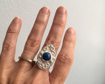 Lapis and sterling ring