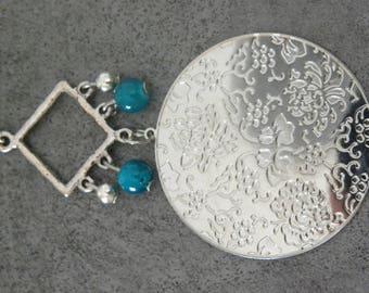 Silver Pendant and beads earring