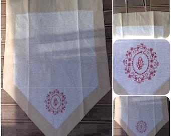 Curtain kitchen linen 60 x 90 white beige embroidery Burgundy Shabby Chic