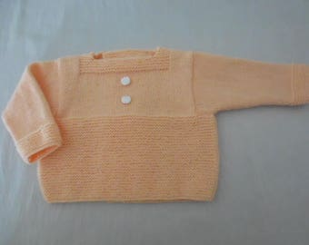 Top 3 months hand knitted baby peach color
