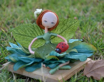 Fairy doll collection with green floral dress, Earth Fairy with ladybug
